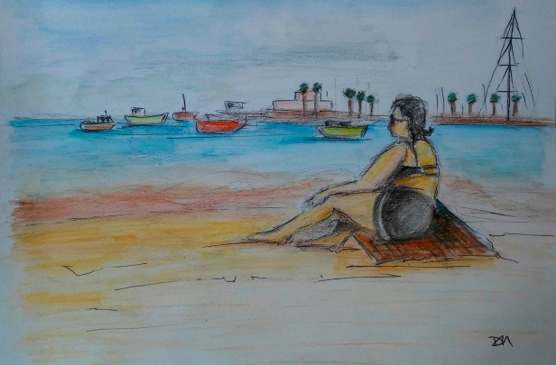 Mujer de mar. Cascais Lisboa. Jun 19-1